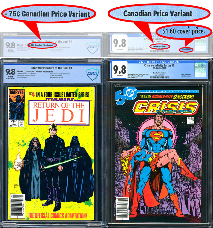 Canadian Price Variant Comics: Labeling